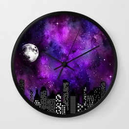 Starry Skyline Neck Gator City Boy Wall Clock