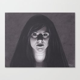 Realism Drawing of Dark Veiled Gypsy Woman Canvas Print