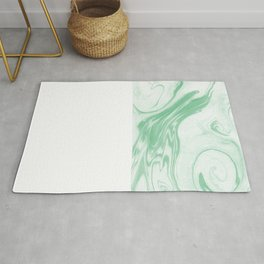 Ryo - happy bright green pastel spilled ink japanese monoprint marbled paper marbling abstract  Rug