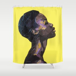 Portrait of Black Woman in yellow background Shower Curtain