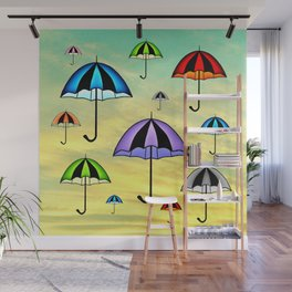 Colorful umbrellas flying in the sky Wall Mural