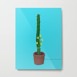 Cactus with fairy lights and daffodils Metal Print