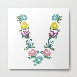 Floral V Monogram Metal Print