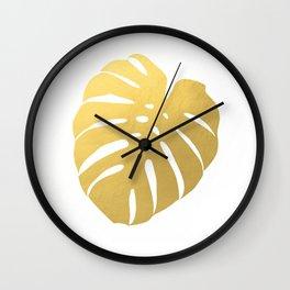 Gold Monstera II Wall Clock