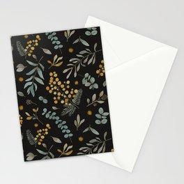 Australian native wattle eucalyptus watercolor floral black Stationery Cards