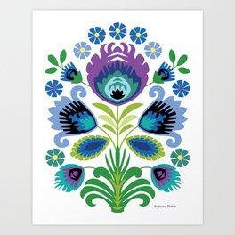 Polish Folk Flowers Purple Art Print