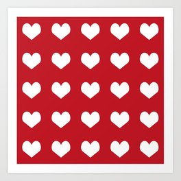 Hearts red and white minimal valentines day love gifts minimal gender neutral Art Print