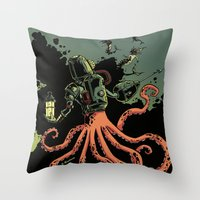 scuba Throw Pillows featuring tentacle scuba by Sarah Baslaim