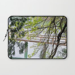 RAINY SPRING DAY AT THE DOCK IN THE WOODS Laptop Sleeve