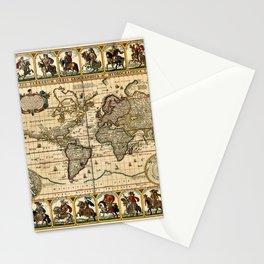 1653 Vintage Nova Totius Terrarum Old World Map by Claus Visscher Stationery Cards