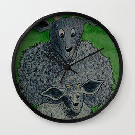 Mummy Sheep and Baby Wall Clock