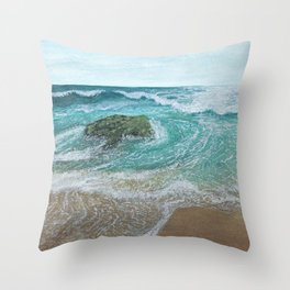 Seascape 'Waves at Play 1' Throw Pillow