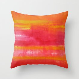 'Summer Day'  Orange Red Yellow Abstract Art Throw Pillow