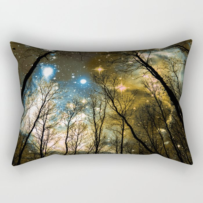 Black Trees Blue Olive Brown Space Rectangular Pillow