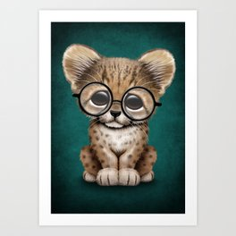 Cute Cheetah Cub Wearing Glasses on Teal Blue Art Print
