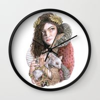 lorde Wall Clocks featuring Lorde by Susan Lewis