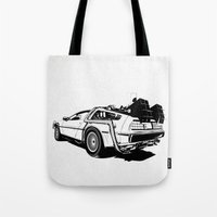 delorean Tote Bags featuring DeLorean / BW by CranioDsgn