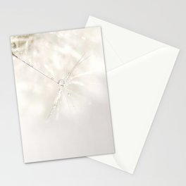 Sparkling dandelion seed head with droplet Stationery Cards
