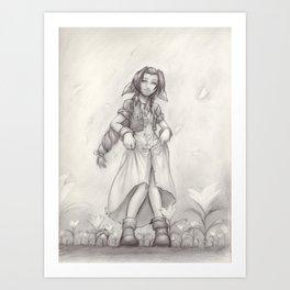 Aerith Greyscale Art Print