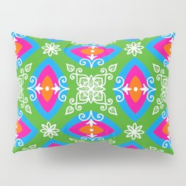 White design on pink, orange, green, and blue pattern Pillow Sham