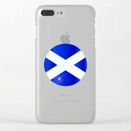 Scotish Flag Button Clear iPhone Case