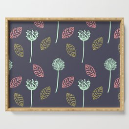 Hand drawn Floral leaves illustration pattern design dark blue Serving Tray
