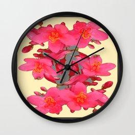 BLACK-PINK FLOWER BLOSSOMS YELLOW SPRING ART Wall Clock