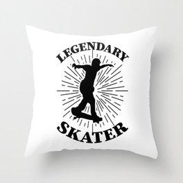 legendary skater skateboard rider skating scooter Throw Pillow