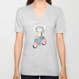 Cartoon Girl with scooter and Hat Unisex V-Neck