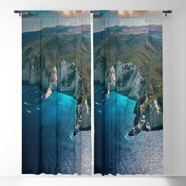 Earth's footprint (Coastline of Greece) Blackout Curtain