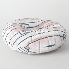 Abstract lines watercolor and geometric painting Floor Pillow