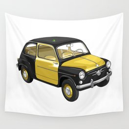 Barcelona Vintage Taxi Wall Tapestry