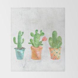 Three Green Cacti Watercolor White Throw Blanket