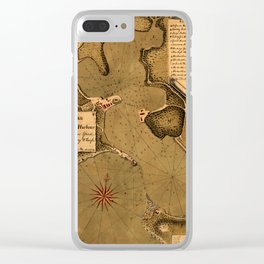 Map Of Antigua 1745 Clear iPhone Case