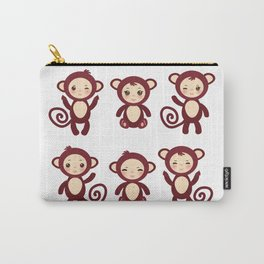 Set of funny brown monkey boys and girls on white background. Vector illustration Carry-All Pouch