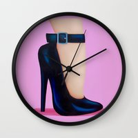 battlefield Wall Clocks featuring Pink Lady by Little Bunny Sunshine
