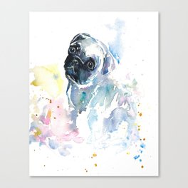 Pug Puppy in Splashy Watercolor Canvas Print