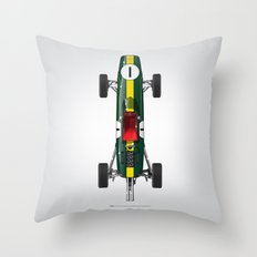 Outline Series N.º1, Jim Clark, Lotus 25-Coventry Climax 1962 Throw Pillow