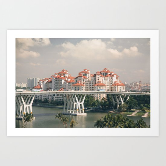 Red rooftops Art Print