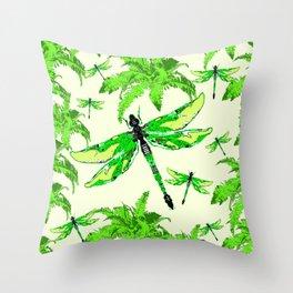 TROPICAL FERNS & EMERALD GREEN  SWAMP DRAGONFLIES Throw Pillow