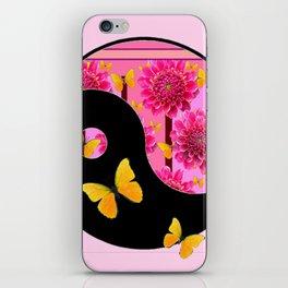 YING-YANG PINK DAHLIAS BUTTERFLY ART iPhone Skin