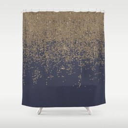 Navy Blue Gold Sparkly Glitter Ombre Shower Curtain