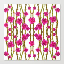 "FUCHSIA PINK ""ROSES & THORNS"" WHITE ART Canvas Print"