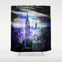new york skyline Shower Curtains featuring New York Skyline by haroulita