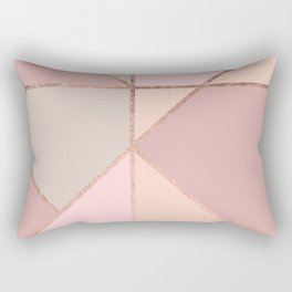 Modern rose gold peach blush pink color block Rectangular Pillow