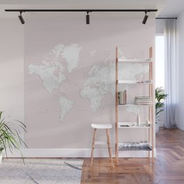 World map, highly detailed in dusty pink and white, square Wall Mural