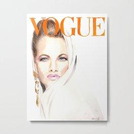 Fashion Illustration. Vogue Magazine Cover. Karen Mulder. Metal Print