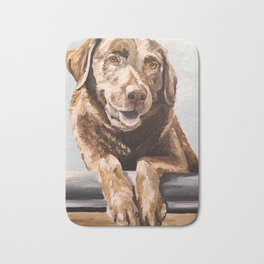 Chocolate Lab Art, Lab Painting, Cute Pet Art Bath Mat