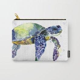 Sea Turtle, Beach Art, Nautical Aquatic Underwater Scene Blue Green Turtle Carry-All Pouch