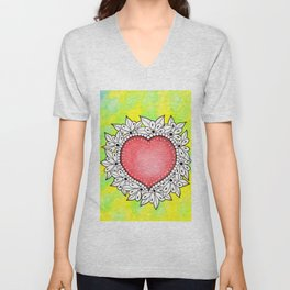 Watercolor Doodle Art | Heart Unisex V-Neck